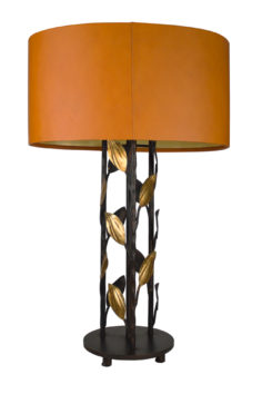 Foliage-Round-Table-Lamp-33Bronze-with-23Deco-Gold-Leaves-and-Leather-Shade